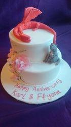 Dragon & wolf anniversary cake