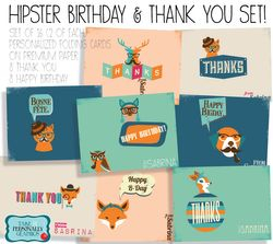 Hipster thank you & Happy B-day Set