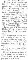 Brumbaugh, Howard Acker 1976 - 2nd obit