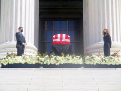 Detail of Casket Guarded by Clerks at West Façade of US Supreme Court Building from West During Lying in Repose of Associate Supreme Court Justice Ruth Bader Ginsburg