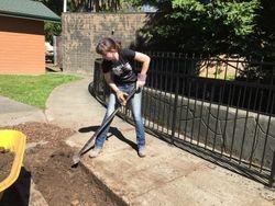 Morgan preparing the soil