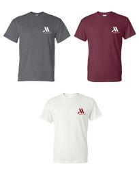 T-shirts.  (Dark Heather, Maroon and White)  Heavyweight 50/50.