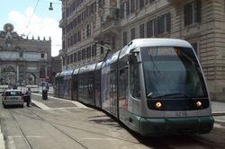 Fiat II tram #9216 departing Flaminio Piazza del Popolo
