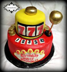 Red and yellow Slot machine Cake