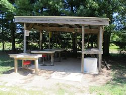 100 yard benches/ covered area