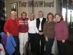 SNGABW 2010 Board: Jan Hansen- Events Chair, Kelly Blakslee- Secretary, Karen Lafferty- WSNGA representative, Deb Koch- Treasurer, Lois Harper- Vice President, Jackie Pierson- President