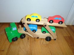 Melissa & Doug Car Carrier Truck & Cars Wooden Set - $12