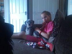 Diesel watching me and Charlotte cuddle