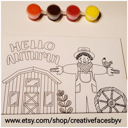 """Hello Autumn"" shown with paint set"
