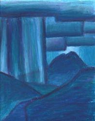 Night Storm Over Mt. Sopris, Oil Pastel, 11x14, Original Sold