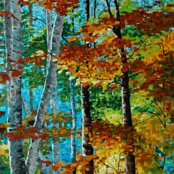 Forest on blue day  48x48