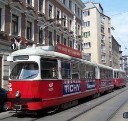 Lohner built E1 class tram, on location near Hundertwasser Haus