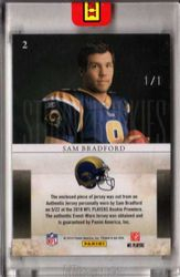 2010 LEAF ROOKIE CARD STARS SAM BRADFORD AUTO 3 COLOR PATCH 1/1