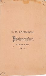 L. D. Johnson, photographer of Vineland, New Jersey