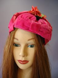 Vintage Pink Velvet Pill Box Style with Floral