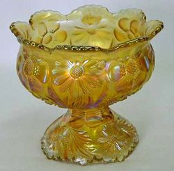 Cosmos and Cane spittoon shaped compote, in honey amber, U.S. Glass