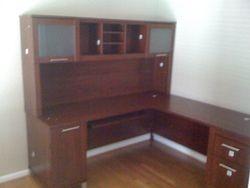 Bush L shaped desk + hutch installation service in Fairfax VA