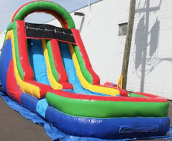 55' Rainbow Obstacle Course 15' Dual Lane Slide