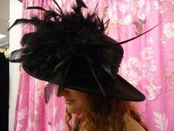 Vintage Black Wool Wide Brim with Feathers