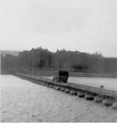 Pontoon bridge over Meuse River