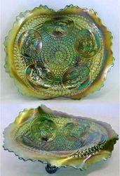 Horse Medallion JIP ftd bowl, green