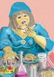 Fat lady tucks in
