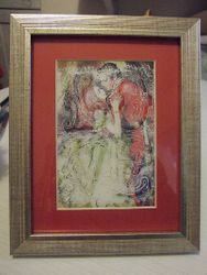 Love poster on vintage illustration, shown framed