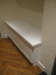 Floating shelves&cabinets, white, made to measure.