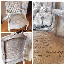 Chaise peinte même le tissus est peint (VENDU)