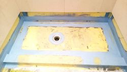 Wet room shower tray waterproofed