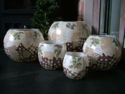 Patchwork Pudding (7inch Bubble Ball, 6inch Bubble Ball, 5inch Bubble Ball, Large Tealight, Small Tealight)