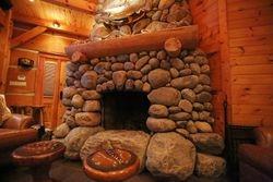 River Rock Fireplace