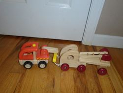 Wooden Tow Truck and Fire Engine - $20