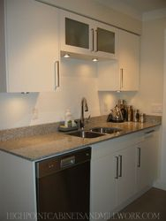 AFTER - White Laquer Flat Slab Kitchen with Granite Countertops