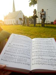 Singing hymns outside, color