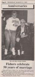 Emory and Martha (Tate) Fisher Anniversary