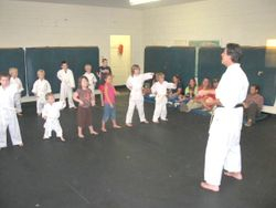 Sensei Instructs Little Tigers on Front Punch