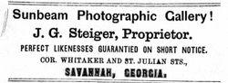 J. G. Steiger, photographer, Savannah, Georgia