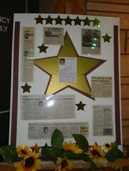 Display featuring Wanda's accomplishment