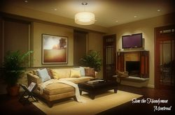 Family-room lighting fixture installation