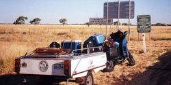 Tom's K75RT & Camper Trailer at the QLD/ NSW Border on the way to the 1998 AGM Bunbury - Mar 1998