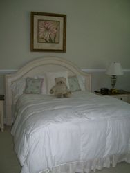 QUEEN OR FULL HEAD BOARD MATTRESS BOXSPRING AND FRAME. FRAMED ARTWORK