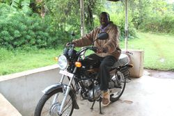 Pastor Walter and his new motor bike