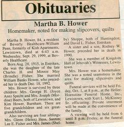 Hower, Martha B. Fisher 1999