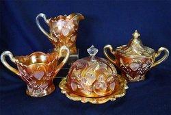 Inverted Strawberry table set, marigold, Cambridge Glass