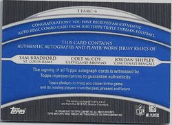 BRADFORD - McCOY - SHIPLEY 2010 TOPPS TRIPLE THREADS TRIPLE AUTO PATCH 1/1