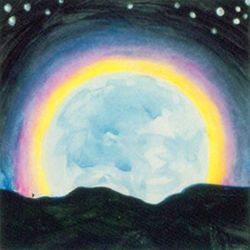 Full Moon Rainbow, Tempera, 4x4, Original Sold