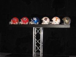 Display of SEC teams helments
