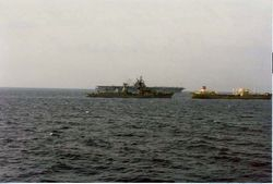 Russian ship refueling from stern