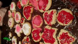 Decorating homemade cookies